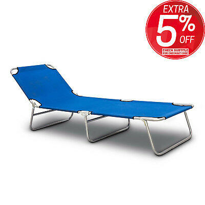 Foldable Tanning Reclining Sun Bed Folding Lounge Pool Beach Chair Sunbed Blue