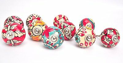 10 Ornate Red Ceramic Drawer Knob Door Knobs chrome furniture handle puller pull