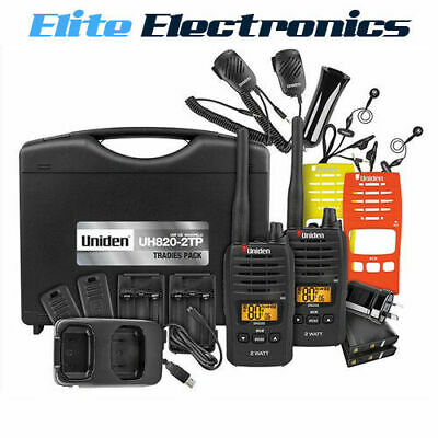 Uniden Uh820S-2Tp Tradie Pack 80-Channel 2W Uhf Twin Cb Handheld 2-Way Radio