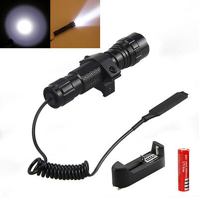 Tactical T6 CREE LED 5000Lm Flashlight Torch Hunting 18650 Rifle Gun Mount Light