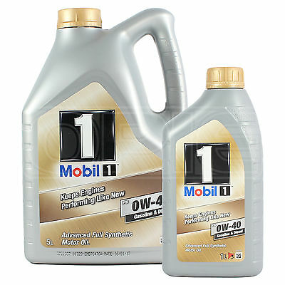 Mobil 1 0W-40 New Life Fully Synthetic Engine Oil 0W40 Mobil1 5L+1L: 6 Litres