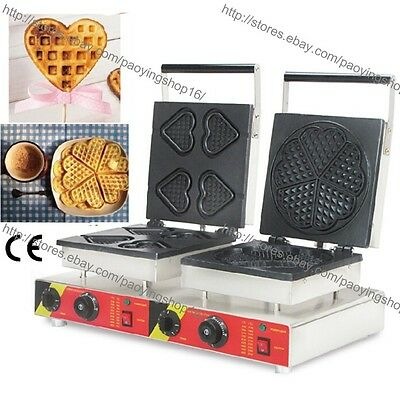 Commercial Nonstick Electric Heart on A Stick Baker Heart Waffle Maker Machine