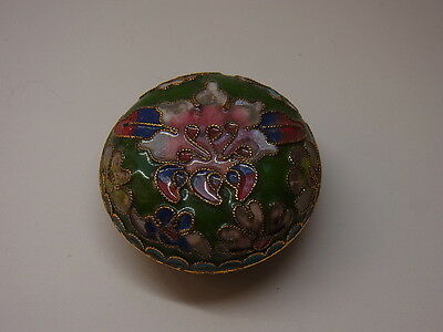 Alte Pillendose Schmuckdose Cloisonne Emaill Pillbox Box Dose Floral Schatulle 3