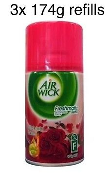 3x Air Wick Freshmatic Automatic Spray Refill Midnight Rose Scent. Airwick