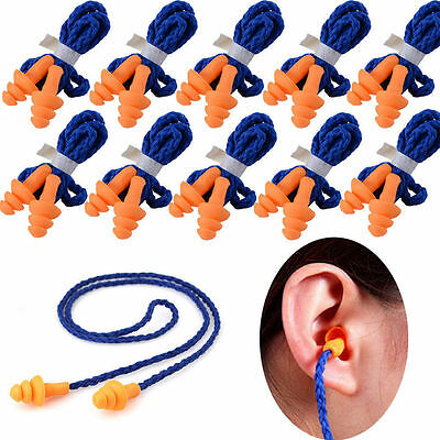 10 Pairs of Soft Silicone Corded Ear Plugs Reusable Hearing Protection Earplugs