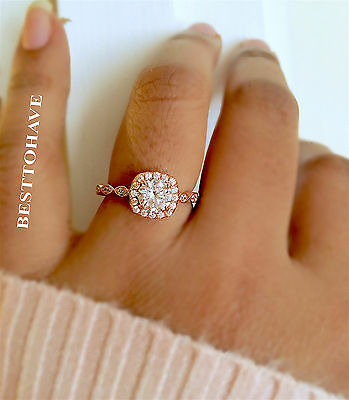 Ladies 925 Sterling Silver Rose Gold Halo Wedding Engagement Band Ring