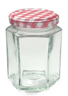 Nutley's Hexagonal 8oz Glass Jam Jars with Red Gingham Lids Twist Off Preserving