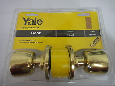 Yale Privacy Knob Set With A Latch - Polished Brass - New (P-5232T-Pb)