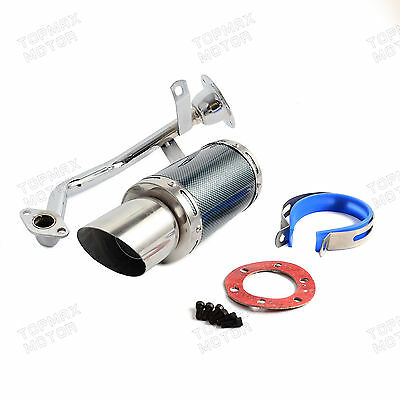 Short Performance Exhaust System Carbon Fiber Fit GY6 150cc 4 Stroke Scooters
