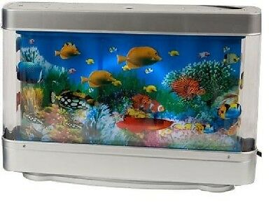 Living Colourful Aquarium Animated Moving Fish Tank With Built In Lamp Light