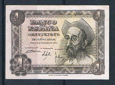 Spain-Banknote Extremely  Rare Rare  1  Pesetas 1951   No Serial  Xf++/aunc