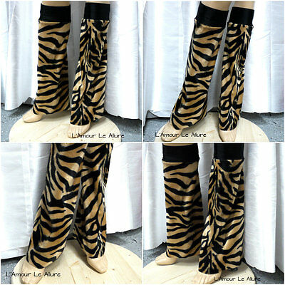 Black Tiger Fluffies Leg Warmers Rave Bra Cosplay Halloween Costume