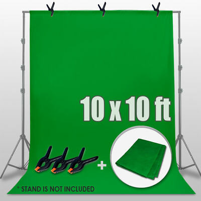10ft Chromakey Green Screen Muslin Backdrop Photo Photography Background+3 Clamp