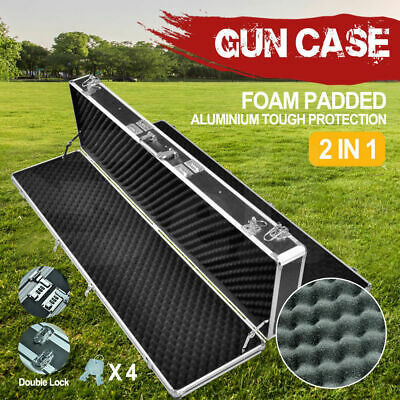 NEW Hard Aluminium Double Hunting Gun Case Safe Rifle Shot Portable Carry Box