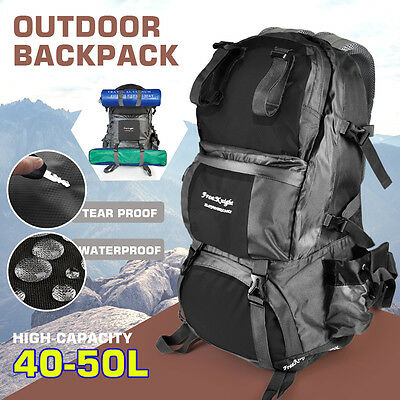 40-50L Large Outdoor Backpack Hiking Bag Camping Travel Waterproof Bag PackBLACK