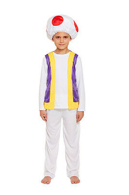Childs Mushroom Kids Fancy Dress Toad Costume 3 Sizes