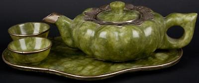China 20. Jh. Teeservice - A Chinese Spinach Green Hardstone Tea Service Chinois