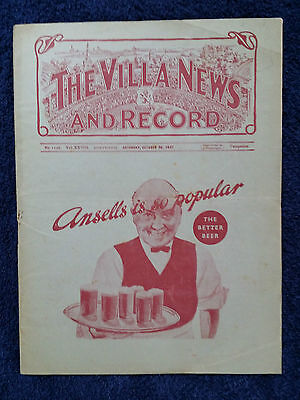1937 - ASTON VILLA (2nd Div Champs) v COVENTRY CITY PROGRAMME - 2nd Division