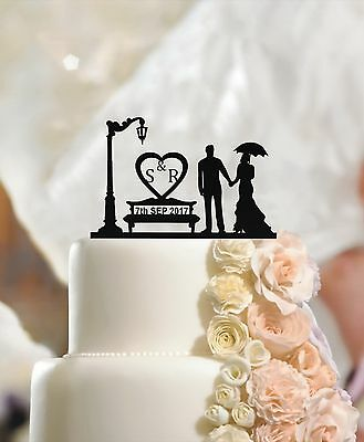 Personalised Wedding Cake Topper Mr & Mrs, Custom Name Fiance & Fiancee Initials