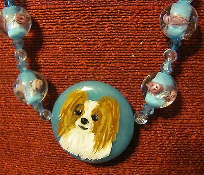 Papillon hand painted on round gemstone pendant/bead/necklace