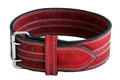 Weight Lifting Belt Suede Leather Power Lifting Strap Inzer Training RED
