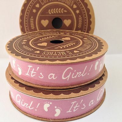 It's a Girl! Pink & white cotton ribbon 5m Spool Baby footprints Craft Gift Wrap