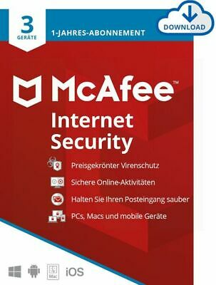 McAfee Internet Security 2019 3 PC 1 Jahr Multidevice MAC Android