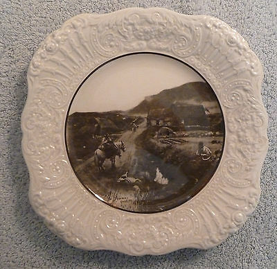Rare vintage Ridgway R.A. Ware GALWAY GOSSIPS luncheon plate, embossed rim
