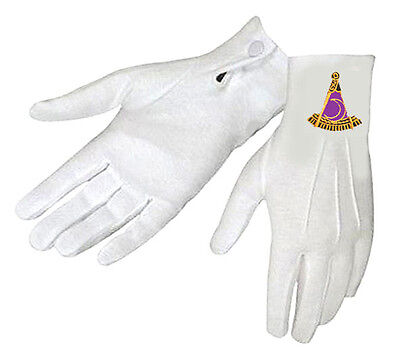 PAST DISTRICT DEPUTY MASONIC GLOVES - EMBROIDERED LOGO on NYLON - FITS MED to XL