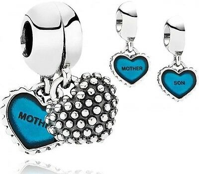 Mother and Son Blue Duo Genuine High Quality Silver s925 Charm +Gift Pouch