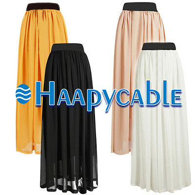 New Retro Women Double Layer Chiffon Pleated Elastic Waist Skirt Long Maxi Dress