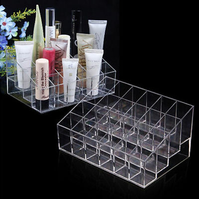 24 Clear Acrylic Display Stand Makeup Lipstick Organizer Cosmetic Storage Box