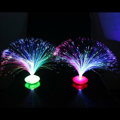 Colorful Changing LED Fiber Optic Night Light Lamp Stand Home Decor Colorful