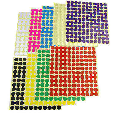 Coloured DOT STICKERS Round Sticky Adhesive Spot Circles Paper Labels 13mm×264