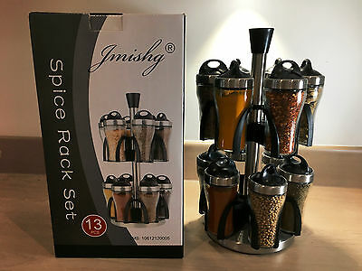 Spice Rack Carousel 12 Jars Stainless Steel Rotating Kitchen Storage Spice Rack