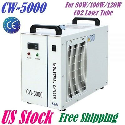 US Stock-110V CW-5000DG Industrial Water Chiller for 80W or 100W CO2  Laser Tube