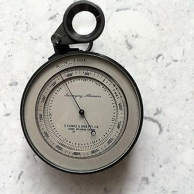 large surveyor Australian  Pocket bevelled Altimeter brass Surveying leather