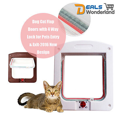 Large Safe Pet Dog Cat Flap Door with 4 Way Locking Lockable for Pets Entry Exit