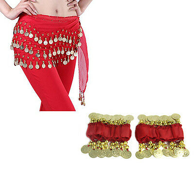 Red Fashion Chiffon Belly Dance Hip Scarf 3 Rows Gold Coin Belt Skirt + Bracelet