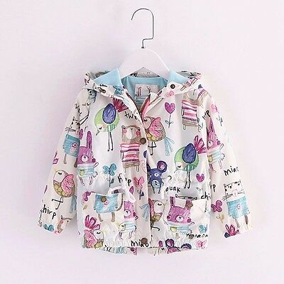 Baby Girls Cartoon Hooded Coat Outerwear Toddler Kids Jackets Clothes Sizes 2T-7