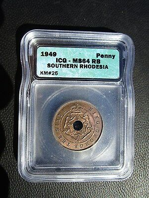 1949 Southern Rhodesia 1 Penny, ICG MS 64 Red Brown, Zimbabwe