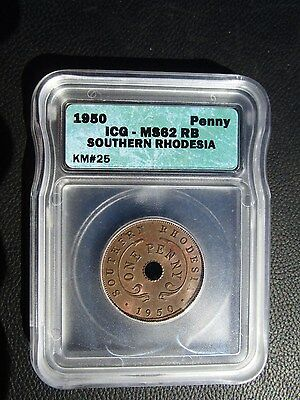 1950 Southern Rhodesia 1 Penny, ICG MS 62 Red Brown, Zimbabwe