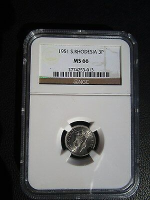 1951 Southern Rhodesia 3 Three Pence, NGC MS 66, None Finer @ NGC, Zimbabwe