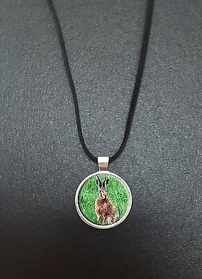 """Hare Pendant On a 18"""" Black Cord Necklace Ideal Birthday Gift N313"""