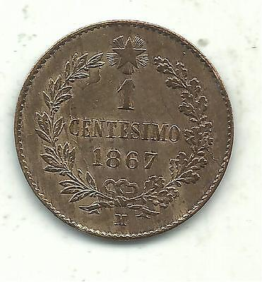 Very Nice High Grade Au Plus Details 1867 M 1 Centesimi Italy Coin-Apr530