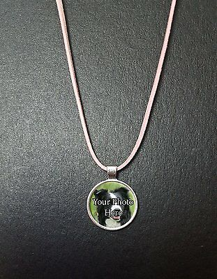 """Personalised Border Collie Photo Pendant On a 18"""" Pink Cord Necklace Ideal Gift"""
