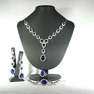 Perfect! Turkish Handmade Sapphire Sterling Silver 925K Set