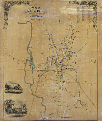 1853 Map of Keene Cheshire County New Hampshire