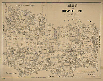 1879 Farm Line Map of Bowie County Texas