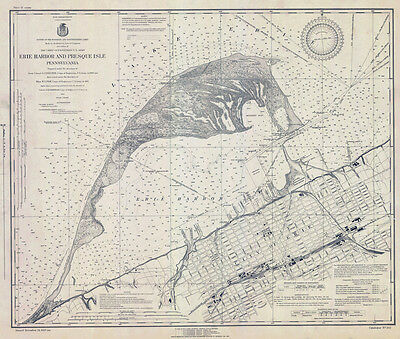 1923 Nautical Map of Erie Harbor and Presque Isle Lake Erie PA